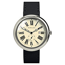 Buy Newgate WWLLBTVS017LK Unisex Grand Liberty Stainless Steel Leather Strap Watch, Black/Cream Online at johnlewis.com