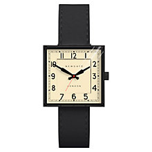 Buy Newgate WWMCBEK004LK Unisex Cube Stainless Steel Leather Strap Watch, Black/Cream Online at johnlewis.com