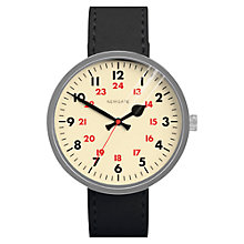 Buy Newgate WWLDRMVS005LK Unisex Grand Drummer Vintage Stainless Steel Leather Strap Watch, Black/Cream Online at johnlewis.com