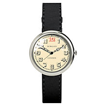 Buy Newgate WWSLBTVS012LK Unisex Liberty Stainless Steel Leather Strap Watch, Black/Cream Online at johnlewis.com