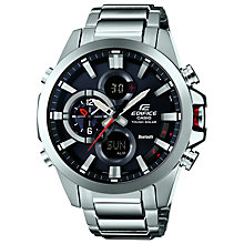 Buy Casio ECB-500D-1AER Men's Edifice Stainless Steel Bracelet Watch, Silver Online at johnlewis.com