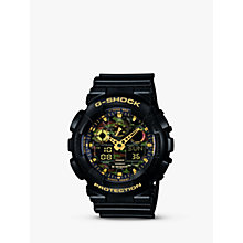 Buy Casio GA-100CF-1A9ER Men's G-Shock Alarm Chronograph Watch, Black/Amber Online at johnlewis.com