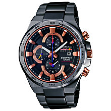 Buy Casio EFR-541SBRB-1AER Edifice Men's Stainless Steel Bracelet Strap Watch, Black/Rose Gold Online at johnlewis.com