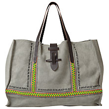 Buy East Suede Beaded Shopper Bag, Ash Online at johnlewis.com