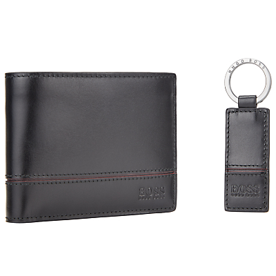 BOSS Glauko Leather Wallet and Keyring Gift Set, Black
