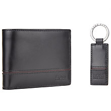 Buy BOSS Glauko Leather Wallet and Keyring Gift Set, Black Online at johnlewis.com