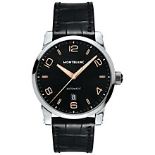 Buy Montblanc 110337 Men's Timewalker Automatic Stainless Steel Leather Strap Watch, Black Online at johnlewis.com