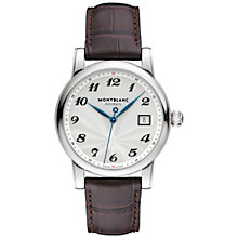 Buy Montblanc 107315 Men's Star Date Automatic Stainless Steel Alligator Strap Watch, Brown/White Online at johnlewis.com