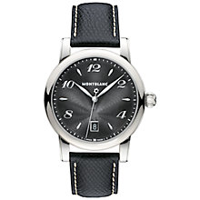 Buy Montblanc 108763 Men's Star Date Stainless Steel Leather Strap Watch, Black Online at johnlewis.com