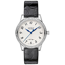 Buy Montblanc 111057 Women's Bohème Date Automatic Alligator Strap Watch, Black/Silver Online at johnlewis.com