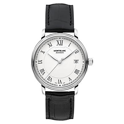 Montblanc 112611 Unisex Alligator Leather Strap Watch, Black/White