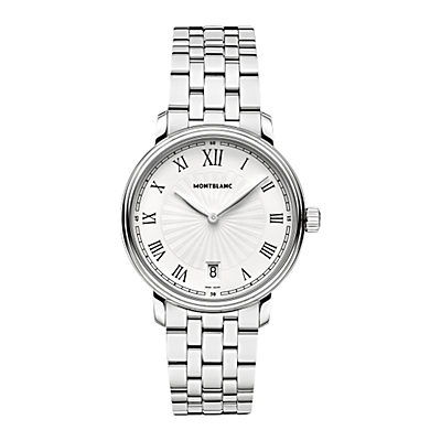 Montblanc 112636 Unisex Tradition Date Stainless Steel Bracelet Watch, Silver/White