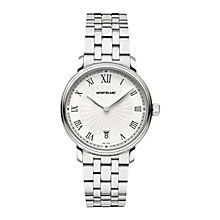 Buy Montblanc 112636 Unisex Tradition Date Stainless Steel Bracelet Watch, Silver/White Online at johnlewis.com