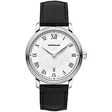 Buy Montblanc 112633 Men's Tradition Date Stainless Steel Alligator Strap Watch, Black/White Online at johnlewis.com
