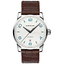 Buy Montblanc 110338 Men's Timewalker Alligator-Skin Strap Watch, Brown/White Online at johnlewis.com