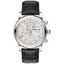 Buy Montblanc 110590 Men's Star Chronograph UTC Alligator Strap Watch, Black/Silver Online at johnlewis.com