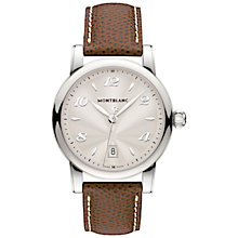 Buy Montblanc 108762 Women's Star Date Stainless Steel Alligator Strap Watch, Brown/Silver Online at johnlewis.com