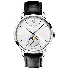 Buy Montblanc 110699 Unisex Heritage Spirit Moonphase Alligator Strap Watch, Black/Silver Online at johnlewis.com