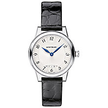 Buy Montblanc 111206 Women's Bohème Date Alligator Strap Watch, Black/Silver Online at johnlewis.com