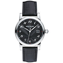 Buy Montblanc 107314 Men's Star Date Automatic Stainless Steel Alligator Strap Watch, Black Online at johnlewis.com