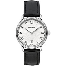 Buy Montblanc 112635 Unisex Tradition Date Stainless Steel Alligator Strap Watch, Black/White Online at johnlewis.com