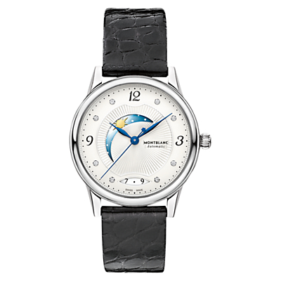 Montblanc 112512 Women's Bohème Day & Night Diamond Alligator Leather Strap Watch, Black/White