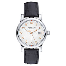 Buy Montblanc 113849 Men's Star Traditional Automatic Carpe Diem Edition Alligator Leather Strap Watch, Black/Silver Online at johnlewis.com