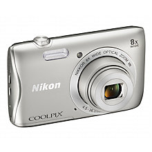 "Buy Nikon COOLPIX S3700 Compact Digital Camera with 8x Optical Zoom, 20.1MP, HD 720p, Wi-FI, NFC, 2.7"" LCD Screen Online at johnlewis.com"
