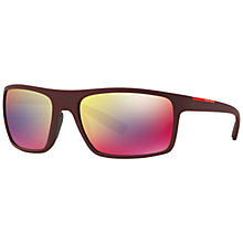 Buy Prada Linea Rossa PS02QS Rectangular Polarised Sunglasses, Bordeaux Online at johnlewis.com