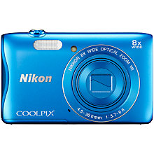 "Buy Nikon COOLPIX S3700 Compact Digital Camera with 8x Optical Zoom, 20.1MP, HD 720p, Wi-FI, NFC, 2.7"" LCD Screen, Blue with Memory Card Online at johnlewis.com"