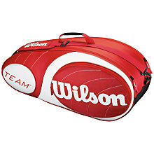Buy Wilson Team Collection 6 Pack Tennis Bag, Red/White Online at johnlewis.com