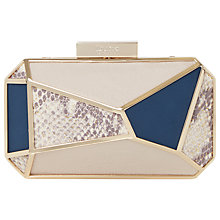 Buy Dune Exotic Panelled Box Clutch Bag, Grey Online at johnlewis.com
