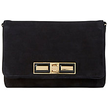 Buy Dune Elodie Suede Flapover Clutch Bag, Black Online at johnlewis.com