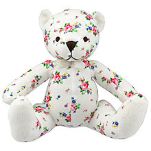Buy Cath Kidston Hankie Rose Teddy Bear, White/Multi Online at johnlewis.com