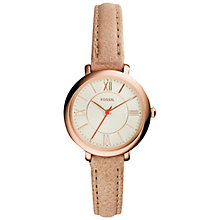 Buy Fossil ES3802 Women's Jacqueline Leather Strap Watch, Sand/Cream Online at johnlewis.com