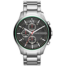 Buy Armani Exchange AX2163 Men's Hampton Chronograph Bracelet Watch, Silver/Black Online at johnlewis.com