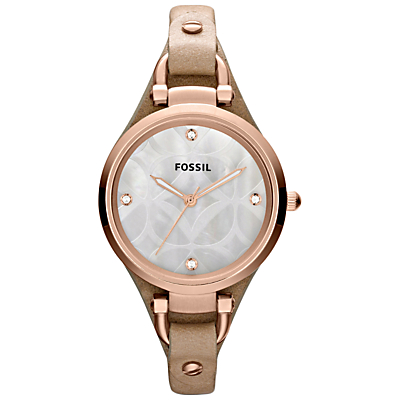 Fossil ES3151 Women's Georgia Leather Strap Watch, Brown/White
