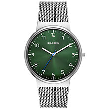 Buy Skagen SKW6184 Men's Ancher Watch, Silver/Green Online at johnlewis.com