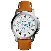 Buy Fossil FS5060 Grant Men's Chronograph Leather Strap Watch, Brown/White Online at johnlewis.com