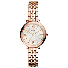 Buy Fossil ES3799 Jacqueline Women's Stainless Steel Bracelet Strap Watch, Rose Gold/White Online at johnlewis.com