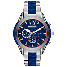 Buy Armani Exchange AX1386 Men's Chronograph Date Bracelet Strap Watch, Silver/Blue Online at johnlewis.com
