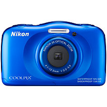 "Buy Nikon COOLPIX S33 Digital Camera, HD 1080p, 13.2MP, 3x Optical Zoom, 2.7"" LCD Screen, Waterproof Online at johnlewis.com"