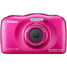 "Buy Nikon COOLPIX S33 Waterproof Compact Digital Camera, HD 1080p, 13.2MP, 3x Optical Zoom, 2.7"" LCD Screen with Backpack Online at johnlewis.com"