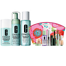 Buy Clinique Anti-Blemish Solutions Cleansing Foam and Clarifying Lotion and Clinical Clearing Gel with FREE Clinique Bonus Time Makeup Bag Gift Online at johnlewis.com