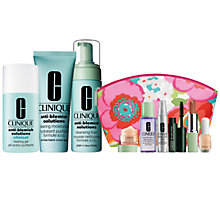 Buy Clinique Anti-Blemish Solutions Cleansing Foam and All Over Clearing Treatment and  Clinical Clearing Gel with FREE Clinique Bonus Time Makeup Bag Gift Online at johnlewis.com