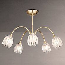 Buy John Lewis Brooke Fluted 5 Arm Ceiling Light, Satin Brass Online at johnlewis.com