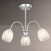 Buy John Lewis Brooke Fluted 3 Arm Ceiling Light, Chrome Online at johnlewis.com