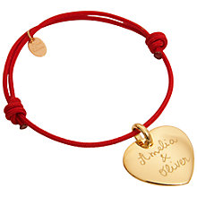 Buy Merci Maman 18ct Gold Plated Personalised Heart Bracelet Online at johnlewis.com