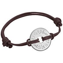 Buy Merci Maman Sterling Silver Personalised Men's Open Disc Bracelet Online at johnlewis.com