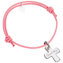 Buy Merci Maman Sterling Silver Personalised Cross Children's Bracelet Online at johnlewis.com